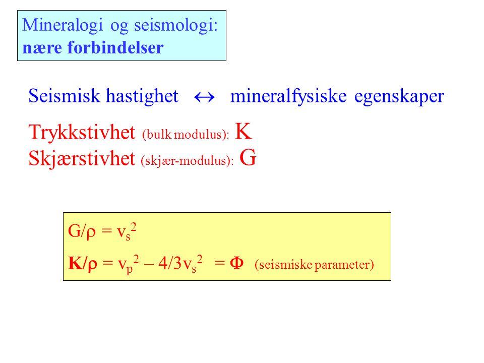 Trykkstivhet (bulk modulus): K Skjærstivhet (skjær-modulus): G