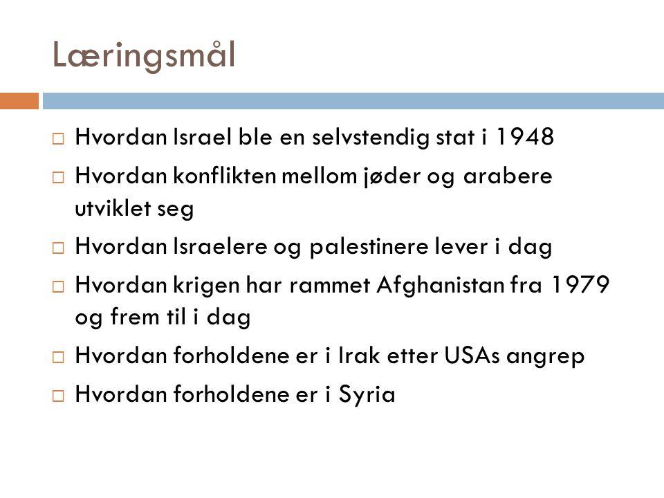 Læringsmål Hvordan Israel ble en selvstendig stat i 1948