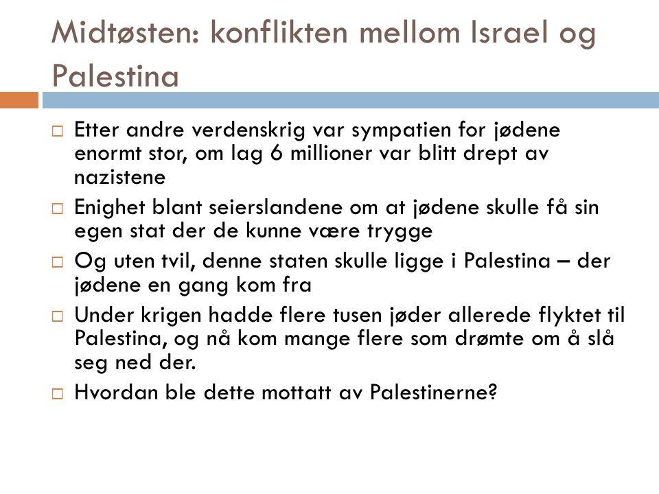 Midtøsten: konflikten mellom Israel og Palestina