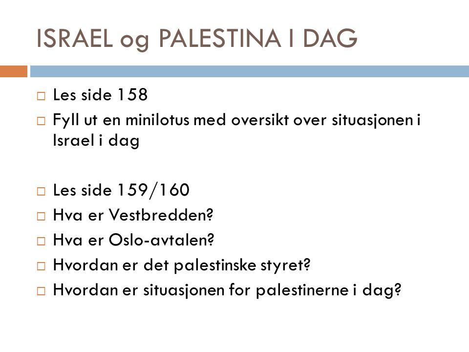 ISRAEL og PALESTINA I DAG