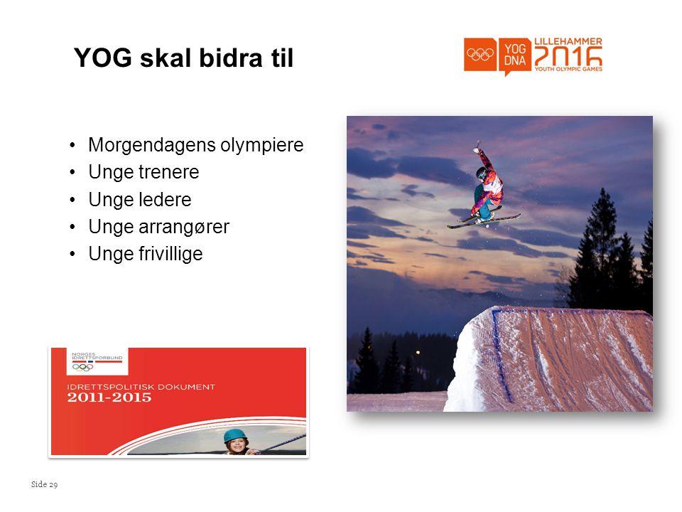 YOG skal bidra til Morgendagens olympiere Unge trenere Unge ledere