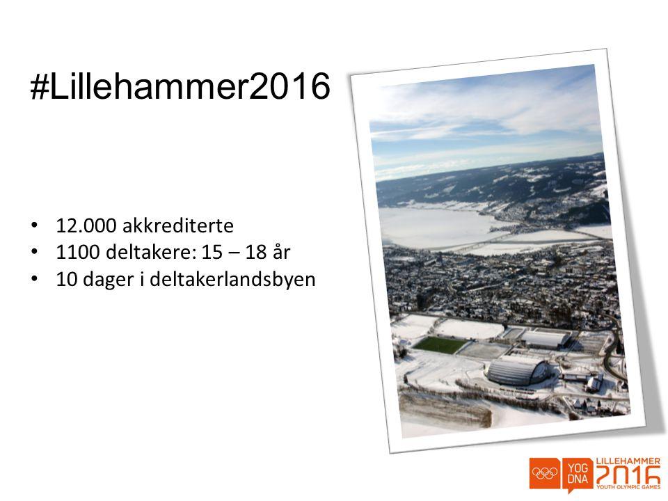 #Lillehammer2016 12.000 akkrediterte 1100 deltakere: 15 – 18 år