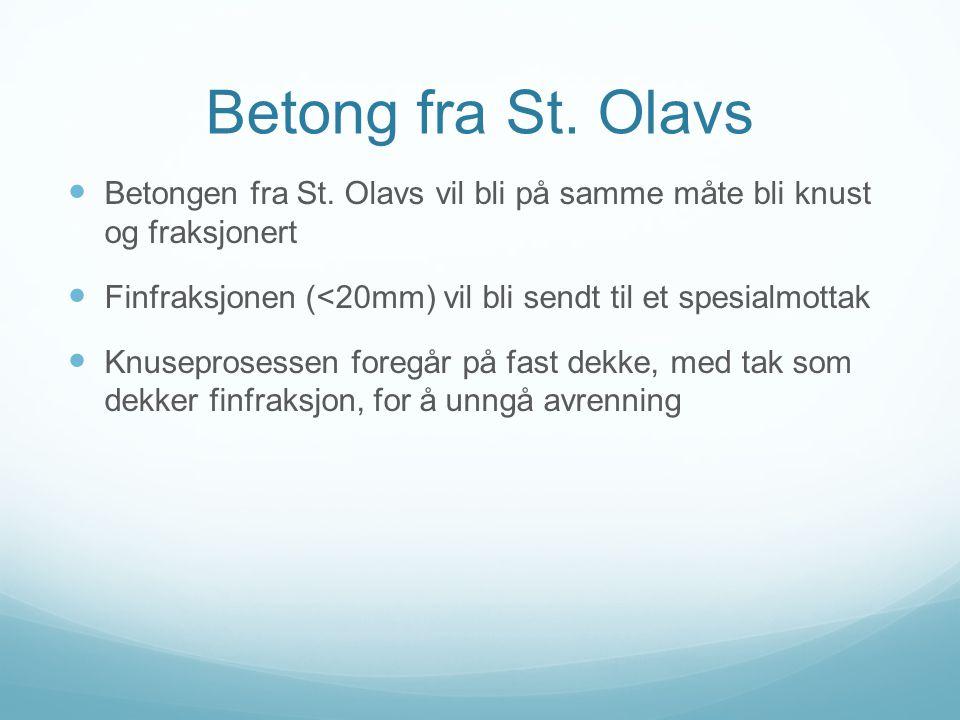 Betong fra St. Olavs Betongen fra St. Olavs vil bli på samme måte bli knust og fraksjonert.