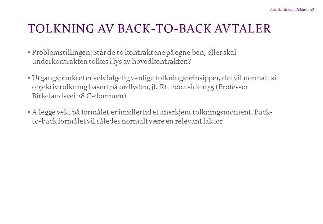 Tolkning av back-to-back avtaler