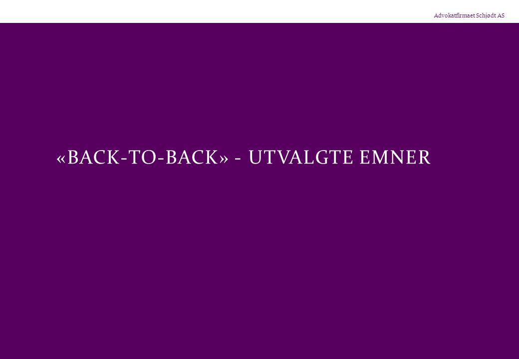«back-to-back» - utvalgte emner