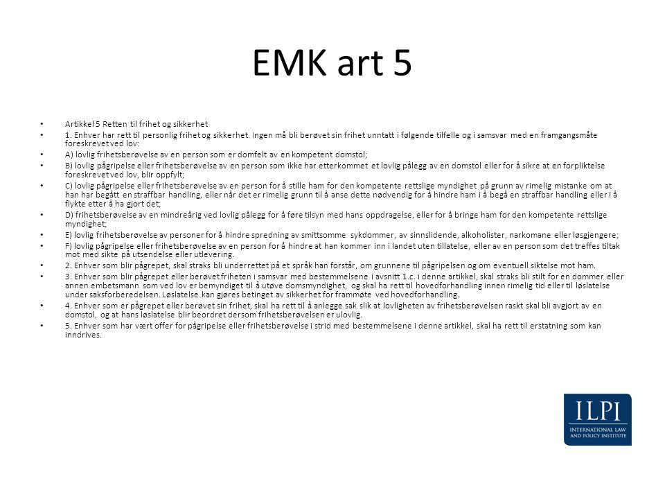 EMK art 5 Artikkel 5 Retten til frihet og sikkerhet