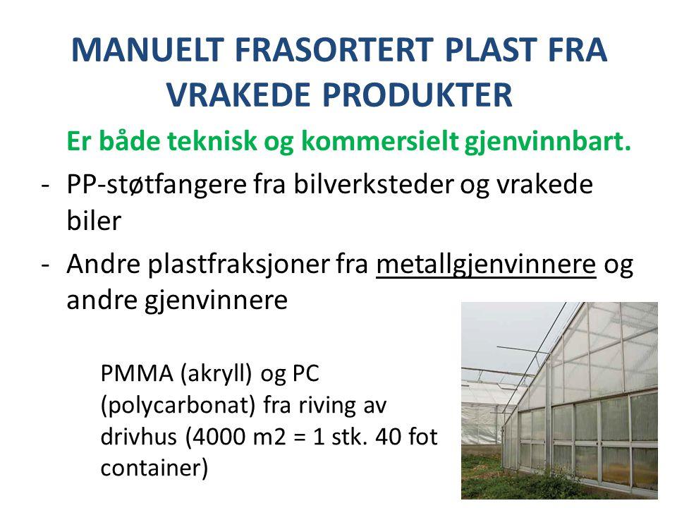 MANUELT FRASORTERT PLAST FRA VRAKEDE PRODUKTER