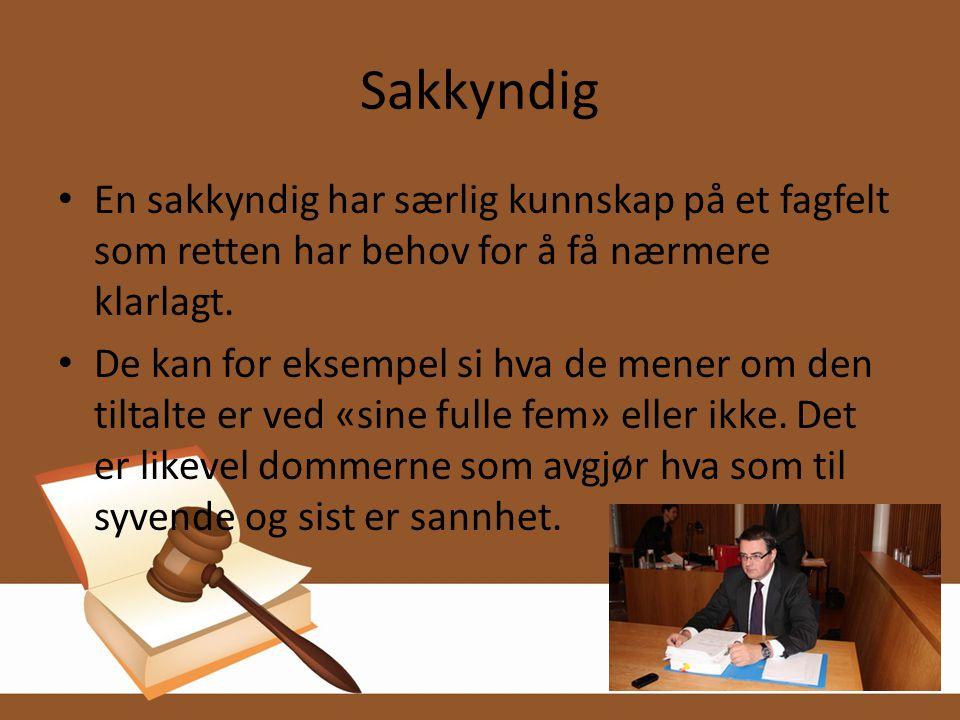 Sakkyndig En sakkyndig har særlig kunnskap på et fagfelt som retten har behov for å få nærmere klarlagt.