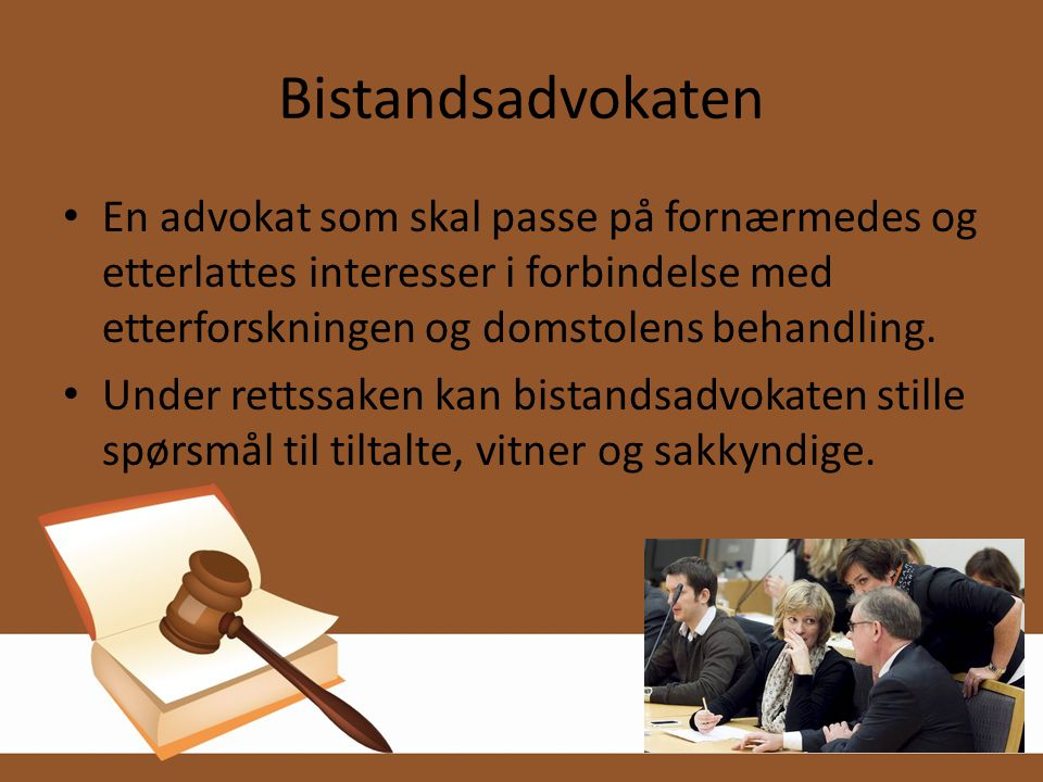 Bistandsadvokaten En advokat som skal passe på fornærmedes og etterlattes interesser i forbindelse med etterforskningen og domstolens behandling.