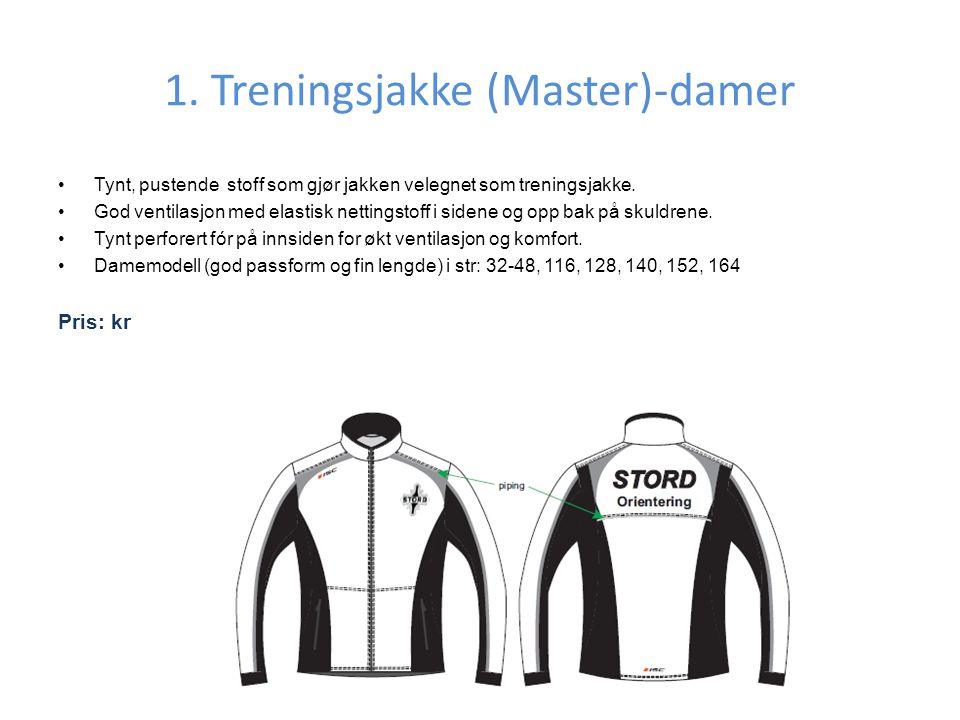 1. Treningsjakke (Master)-damer