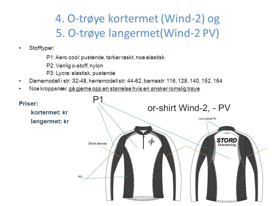 4. O-trøye kortermet (Wind-2) og 5. O-trøye langermet(Wind-2 PV)