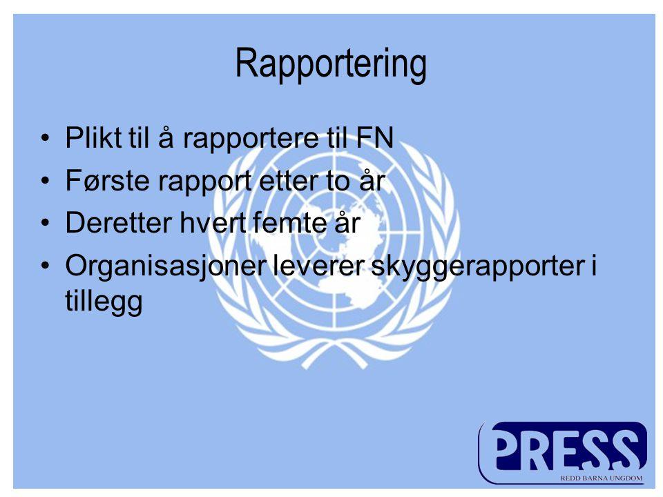 Rapportering Plikt til å rapportere til FN Første rapport etter to år