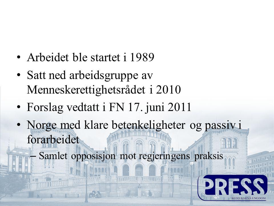 Satt ned arbeidsgruppe av Menneskerettighetsrådet i 2010