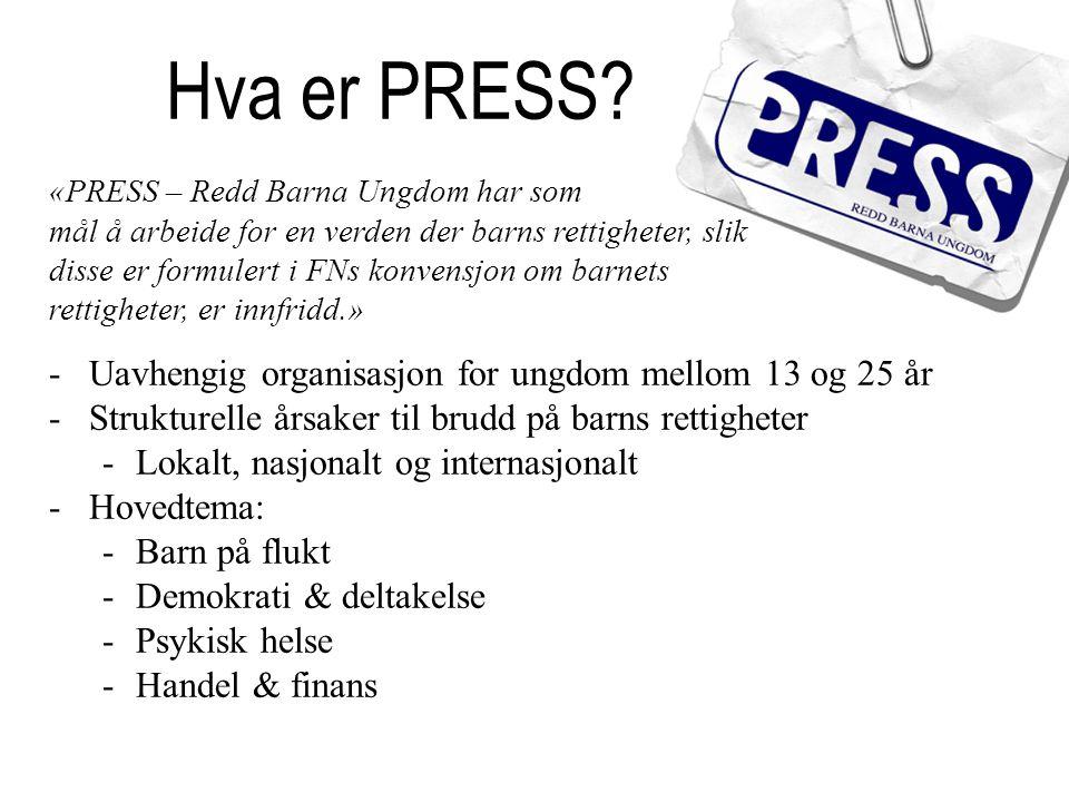 Hva er PRESS Uavhengig organisasjon for ungdom mellom 13 og 25 år