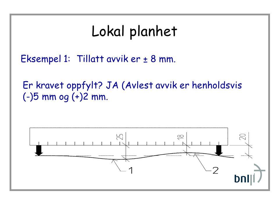 Lokal planhet Eksempel 1: Tillatt avvik er ± 8 mm.