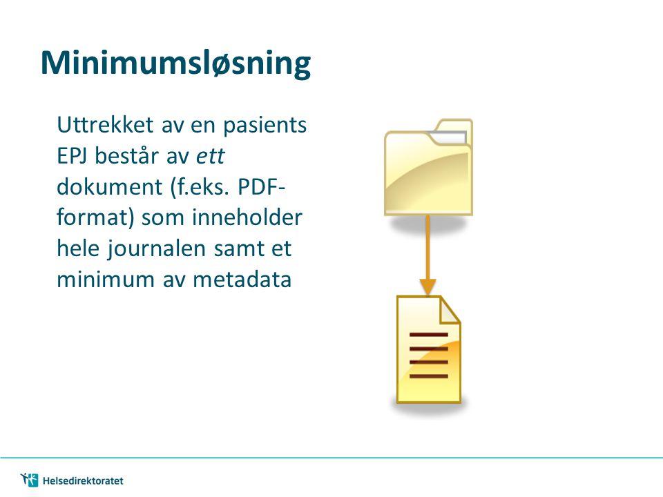 Minimumsløsning Uttrekket av en pasients EPJ består av ett dokument (f.eks.