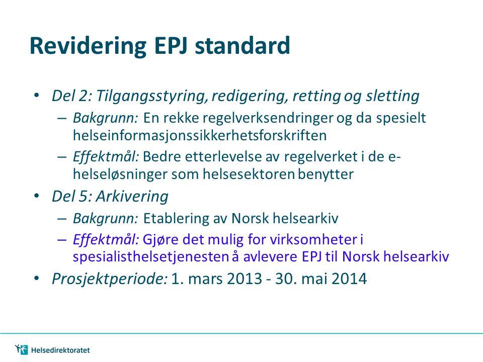 Revidering EPJ standard