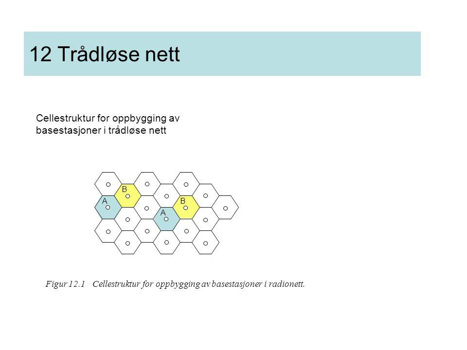 12 Trådløse nett Cellestruktur for oppbygging av basestasjoner i trådløse nett. A. B.