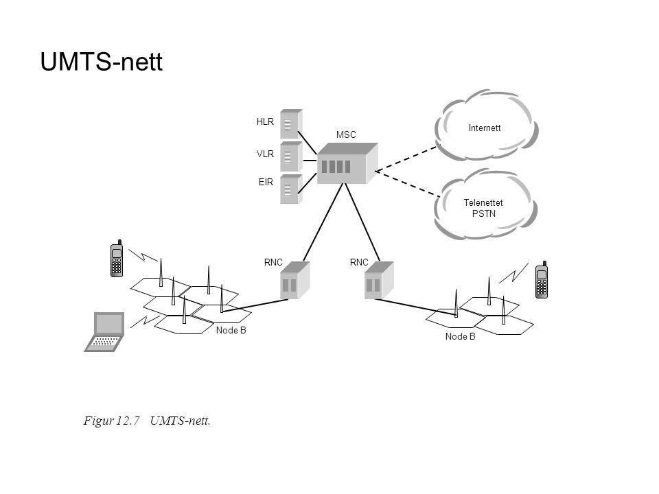 UMTS-nett Figur 12.7 UMTS-nett. HLR Internett MSC VLR EIR
