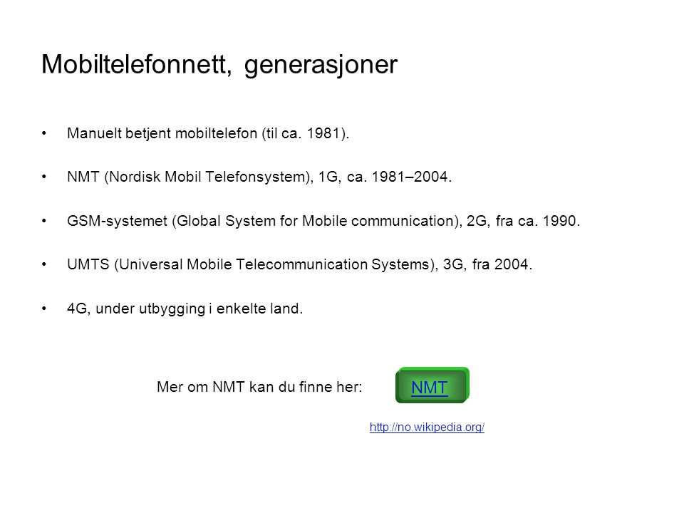 Mobiltelefonnett, generasjoner