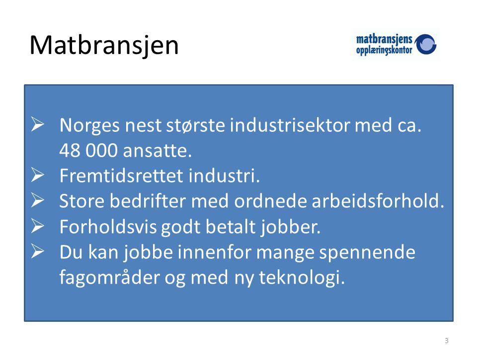 Matbransjen Norges nest største industrisektor med ca. 48 000 ansatte.