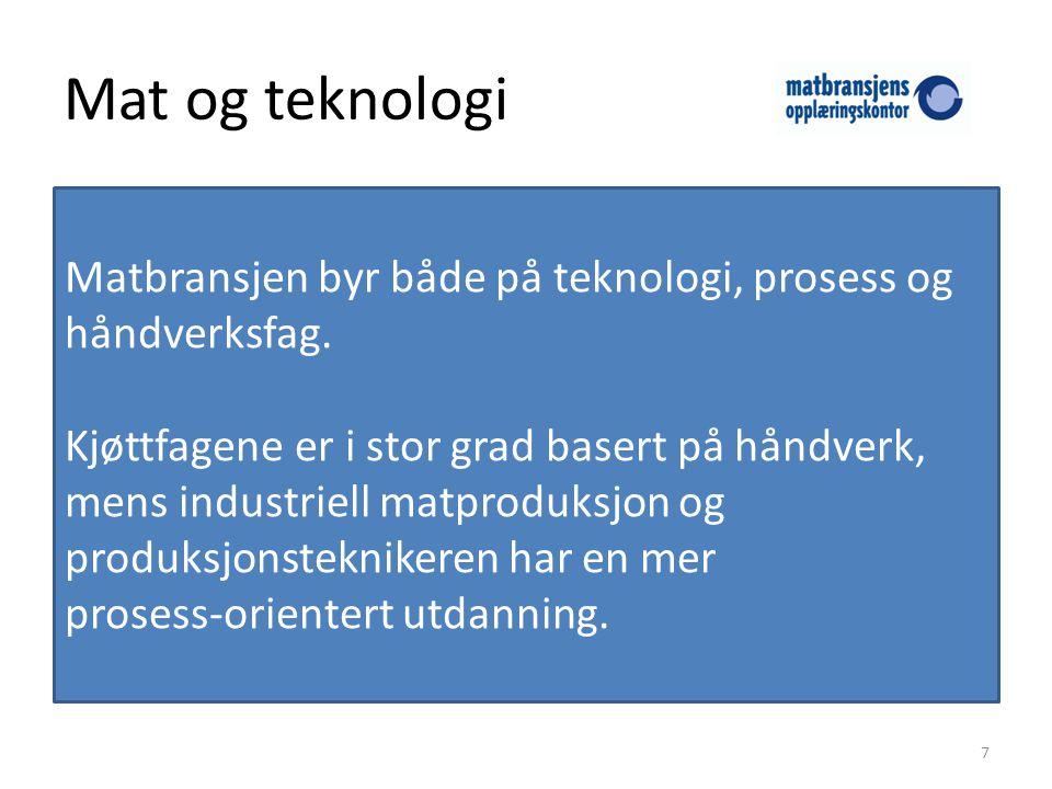 Mat og teknologi Matbransjen byr både på teknologi, prosess og håndverksfag.