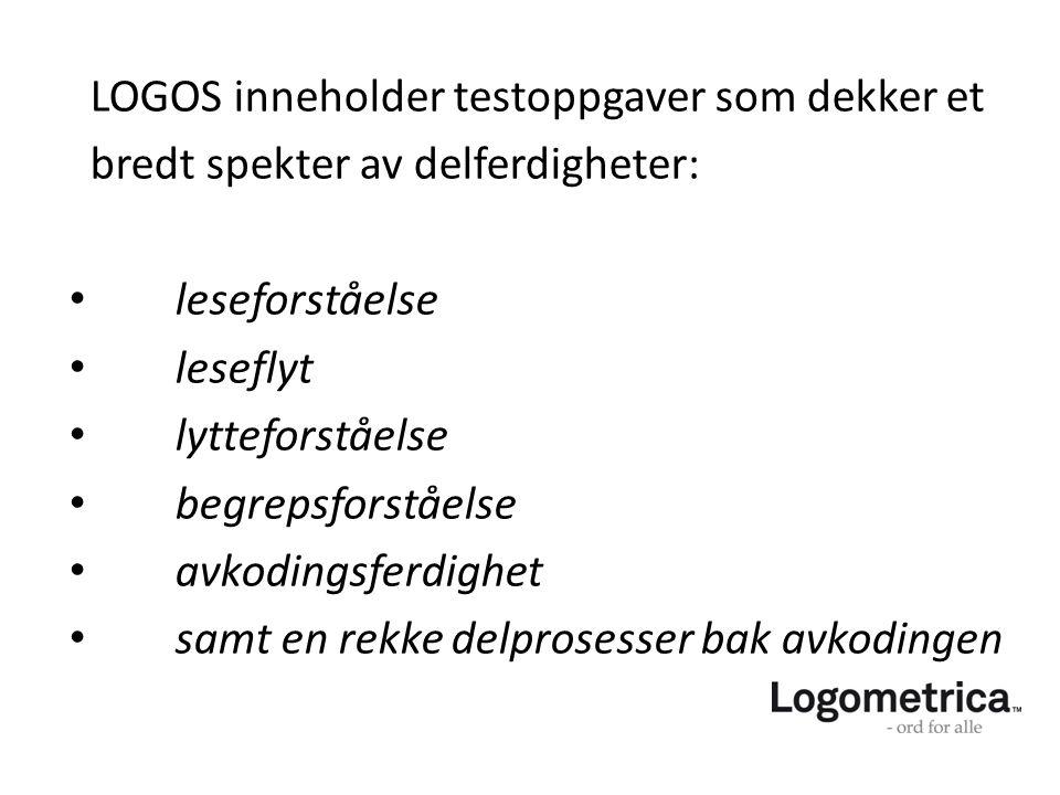 LOGOS inneholder testoppgaver som dekker et