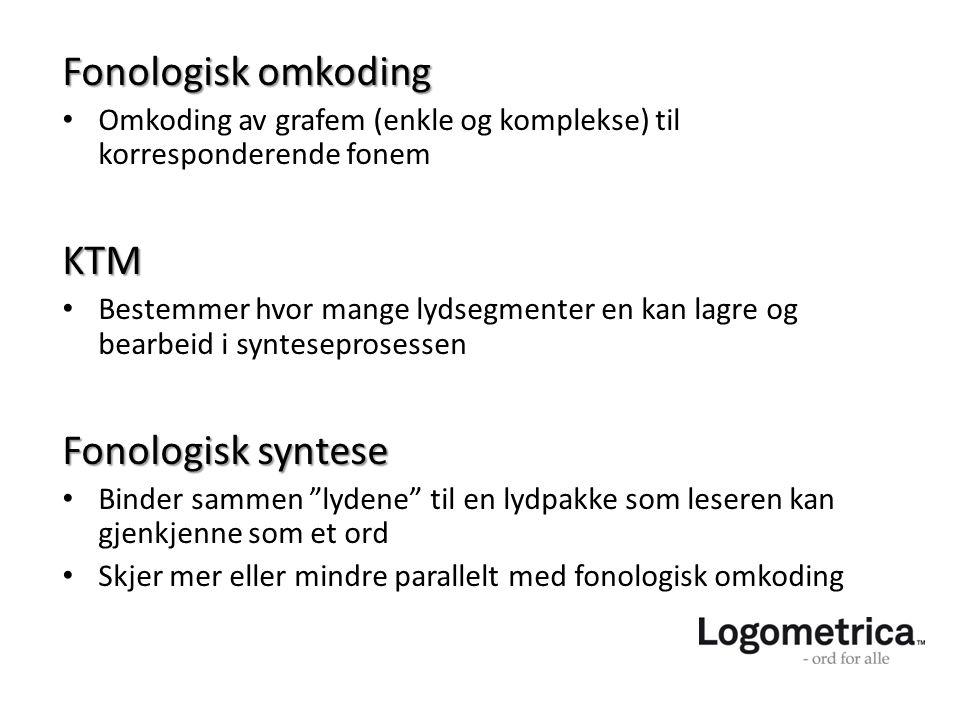 Fonologisk omkoding KTM Fonologisk syntese