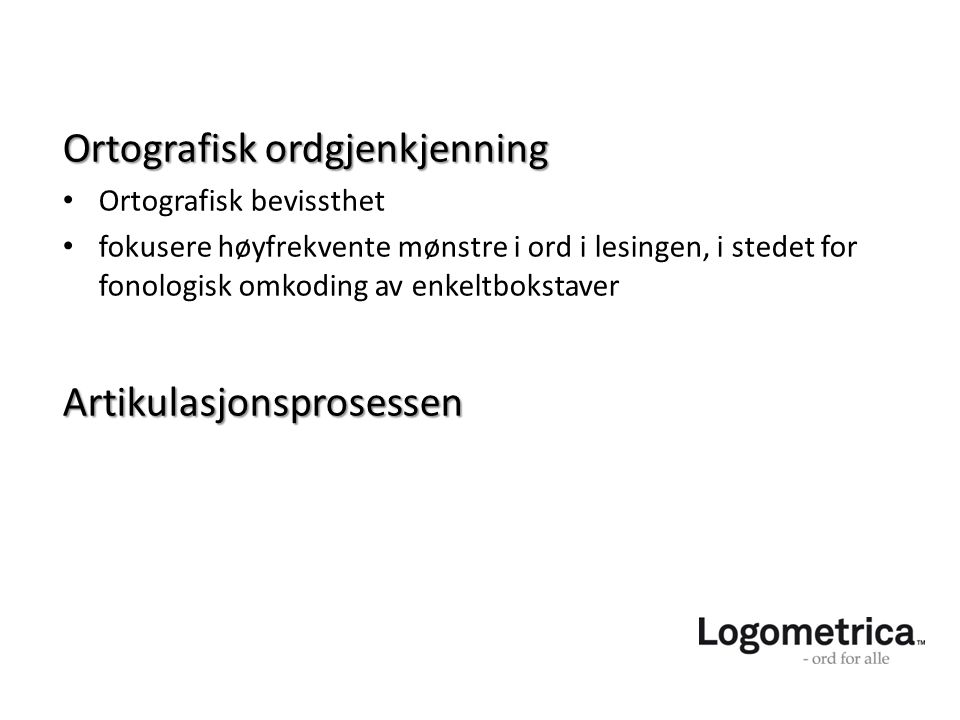 Ortografisk ordgjenkjenning