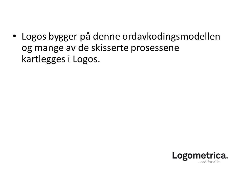 Logos bygger på denne ordavkodingsmodellen og mange av de skisserte prosessene kartlegges i Logos.