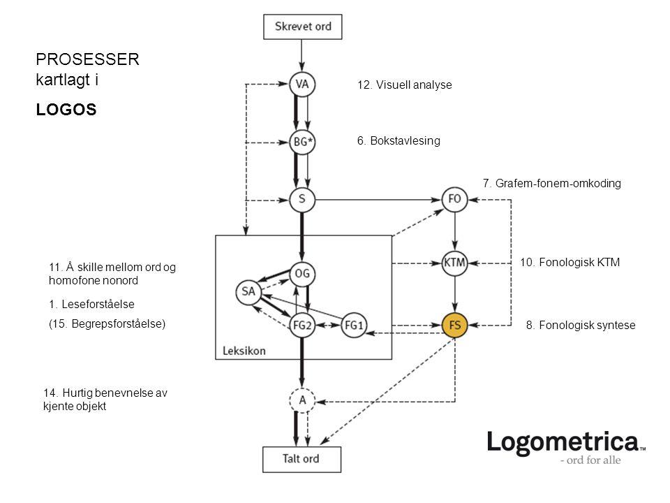 PROSESSER kartlagt i LOGOS 12. Visuell analyse 6. Bokstavlesing