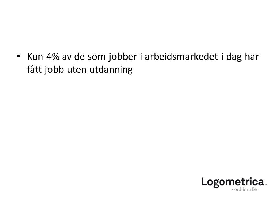 Kun 4% av de som jobber i arbeidsmarkedet i dag har fått jobb uten utdanning