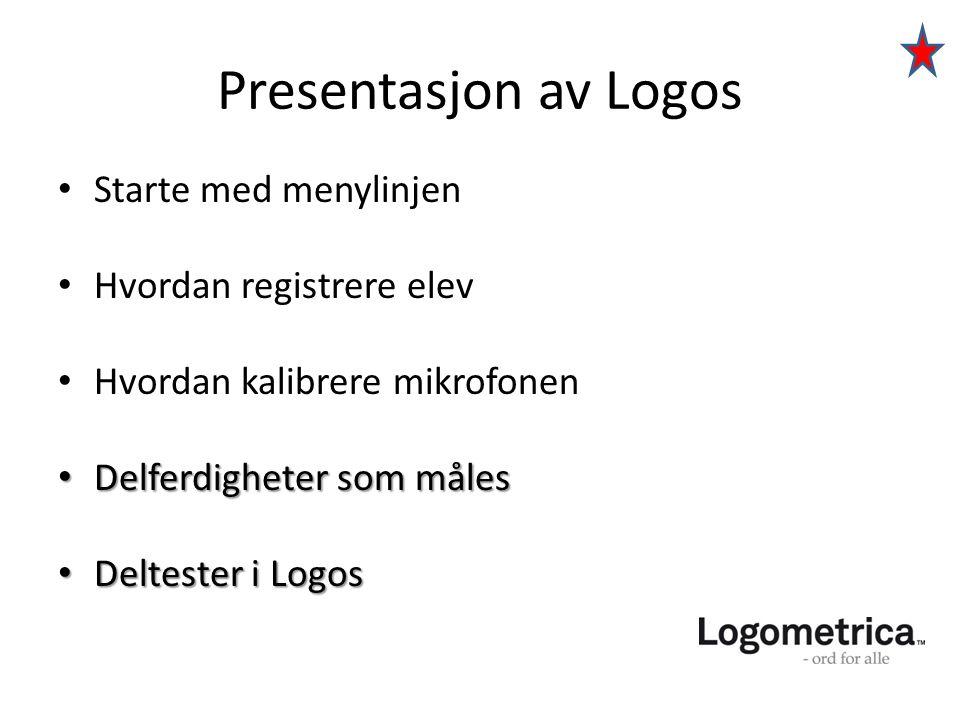 Presentasjon av Logos Starte med menylinjen Hvordan registrere elev