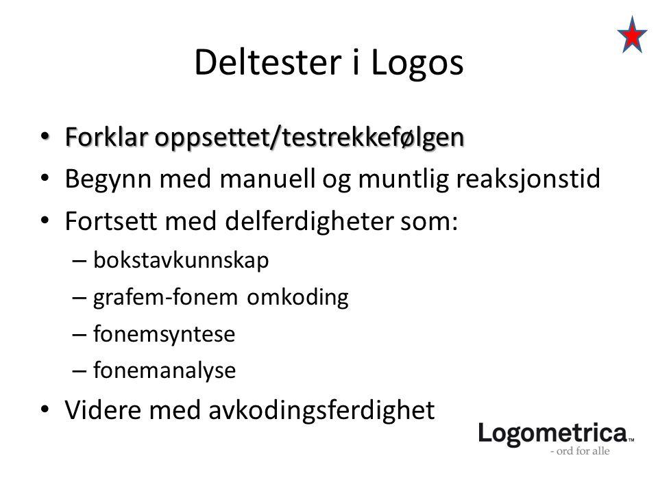 Deltester i Logos Forklar oppsettet/testrekkefølgen