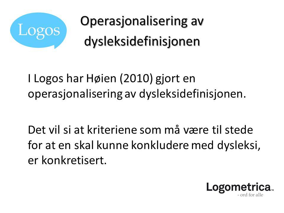 Operasjonalisering av dysleksidefinisjonen