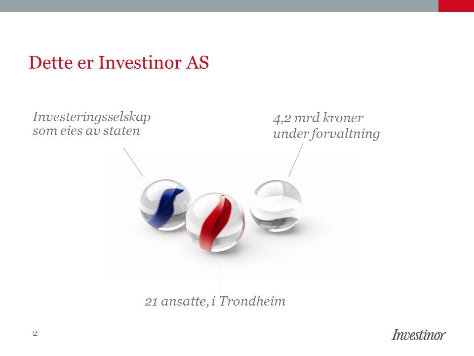 Dette er Investinor AS Investeringsselskap som eies av staten