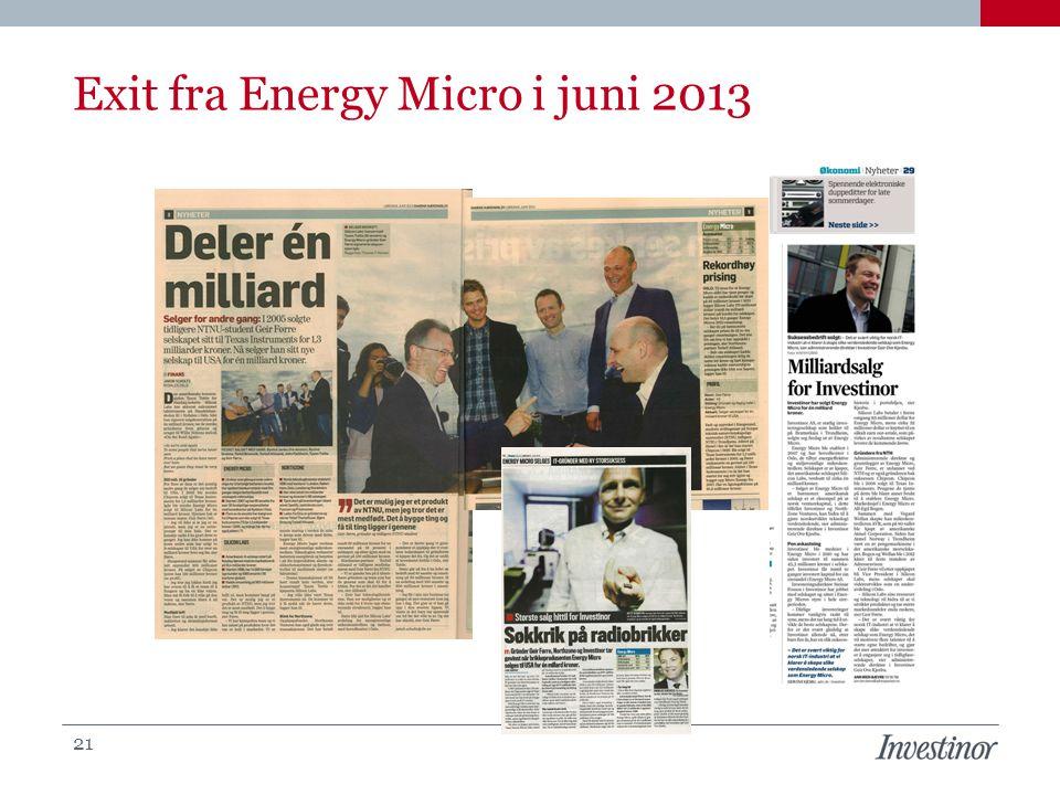 Exit fra Energy Micro i juni 2013