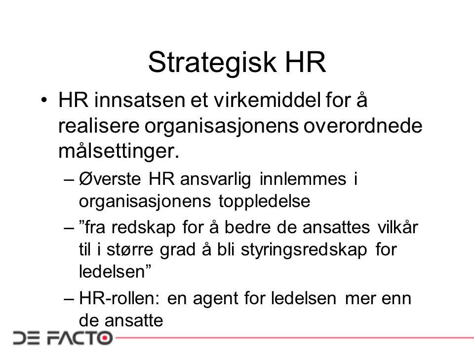 Strategisk HR HR innsatsen et virkemiddel for å realisere organisasjonens overordnede målsettinger.