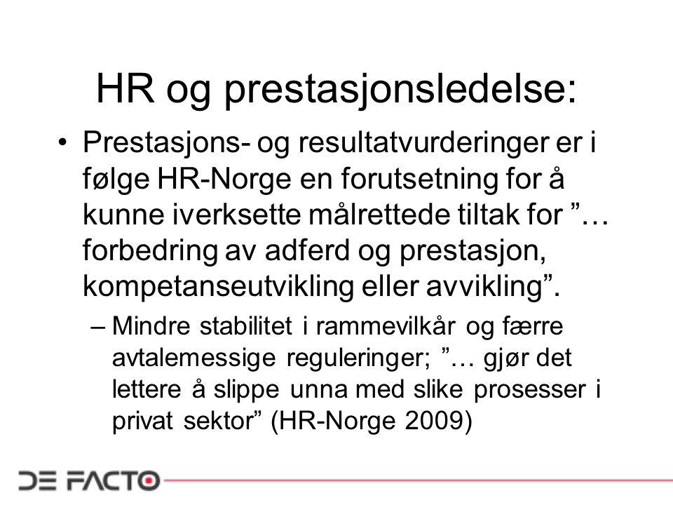 HR og prestasjonsledelse: