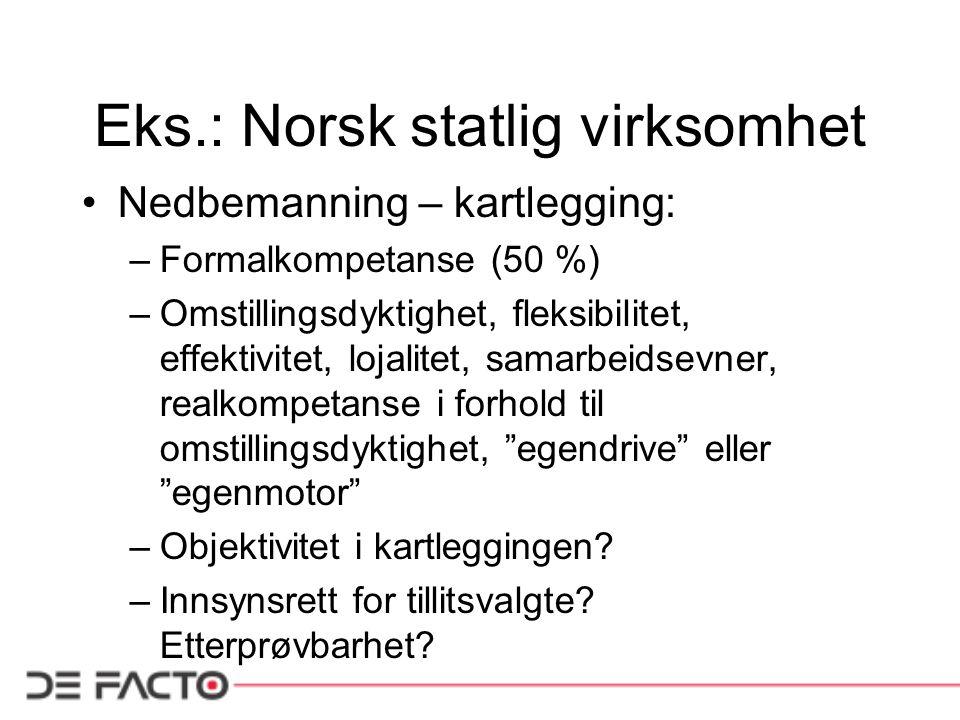Eks.: Norsk statlig virksomhet