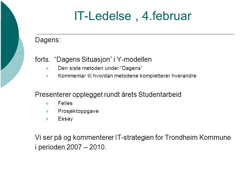 IT-Ledelse , 4.februar Dagens: forts. Dagens Situasjon i Y-modellen