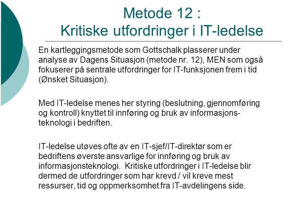 Metode 12 : Kritiske utfordringer i IT-ledelse