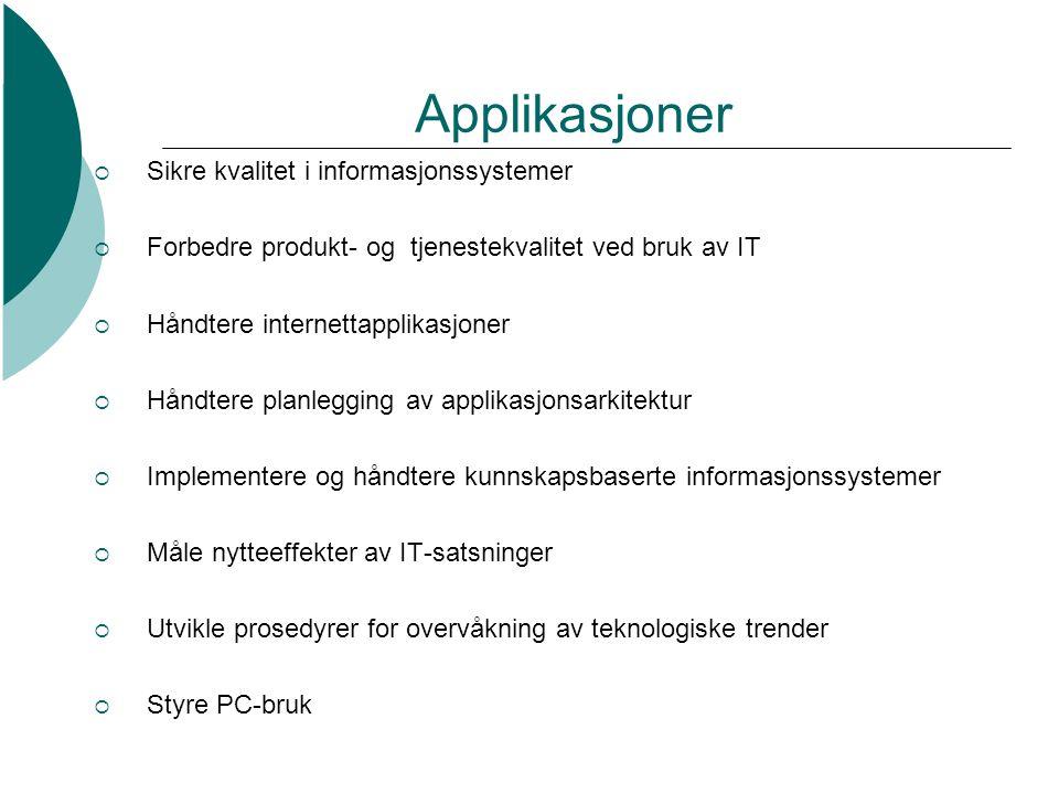 Applikasjoner Sikre kvalitet i informasjonssystemer
