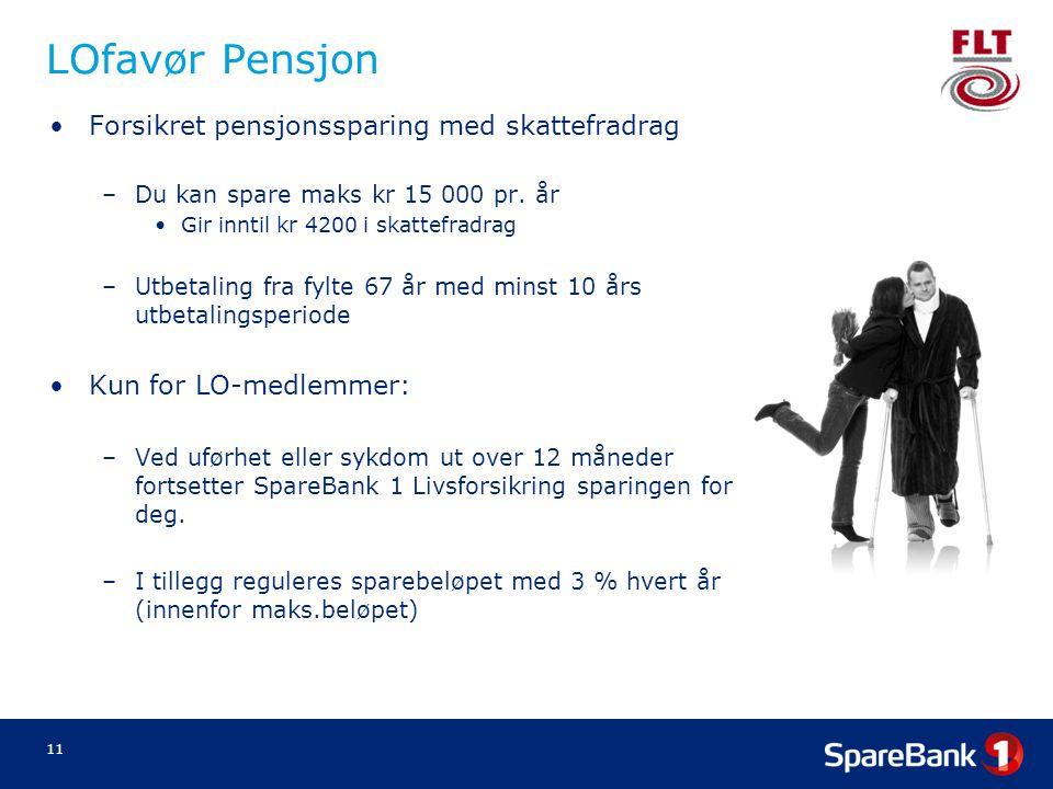 LOfavør Pensjon Forsikret pensjonssparing med skattefradrag