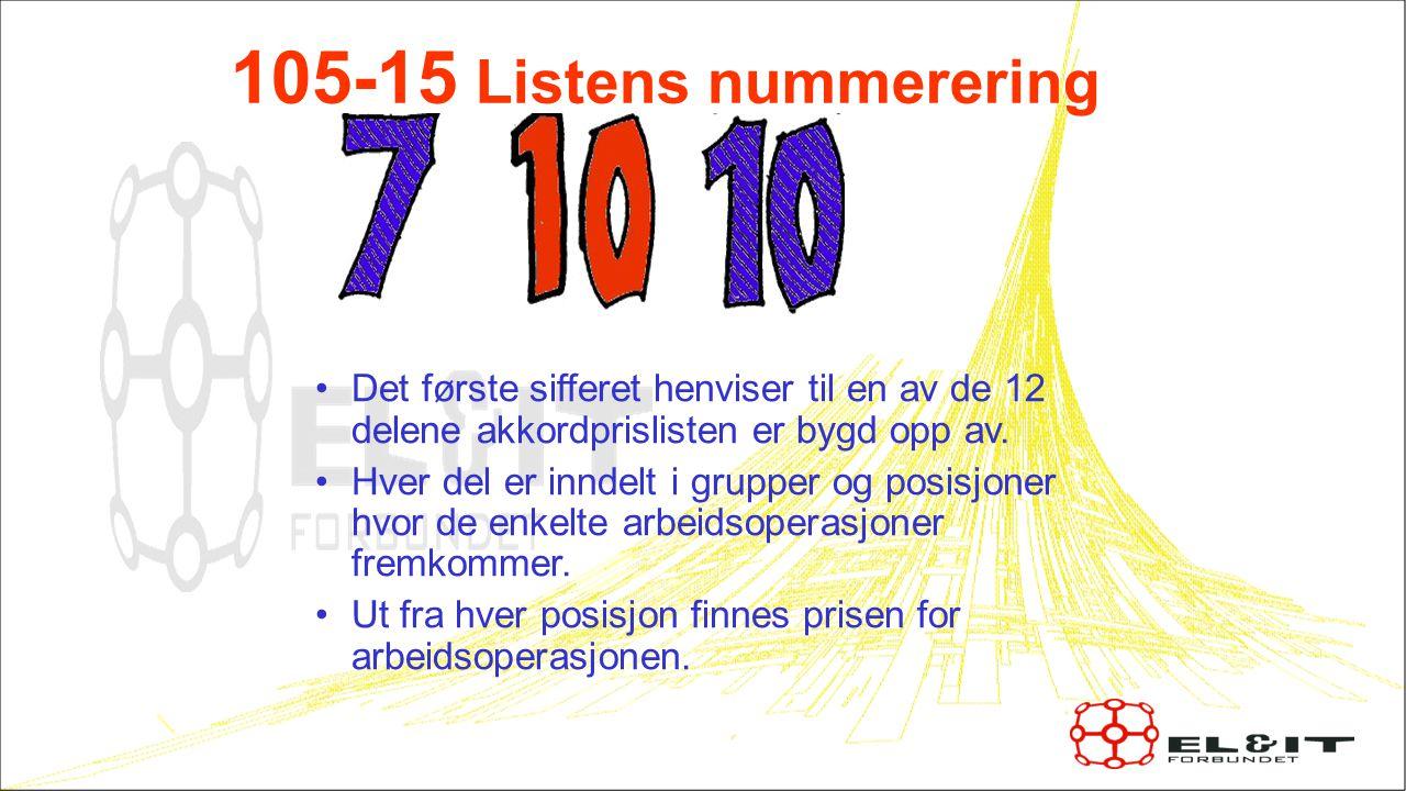 7 105-15 Listens nummerering. Det første sifferet henviser til en av de 12 delene akkordprislisten er bygd opp av.
