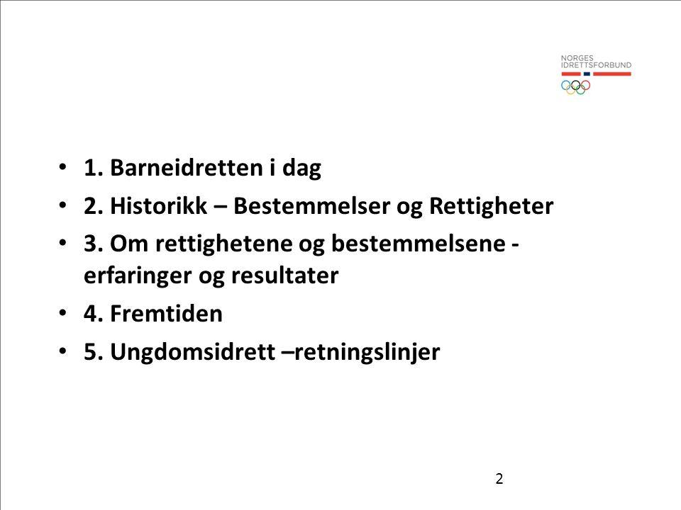 1. Barneidretten i dag 2. Historikk – Bestemmelser og Rettigheter. 3. Om rettighetene og bestemmelsene - erfaringer og resultater.