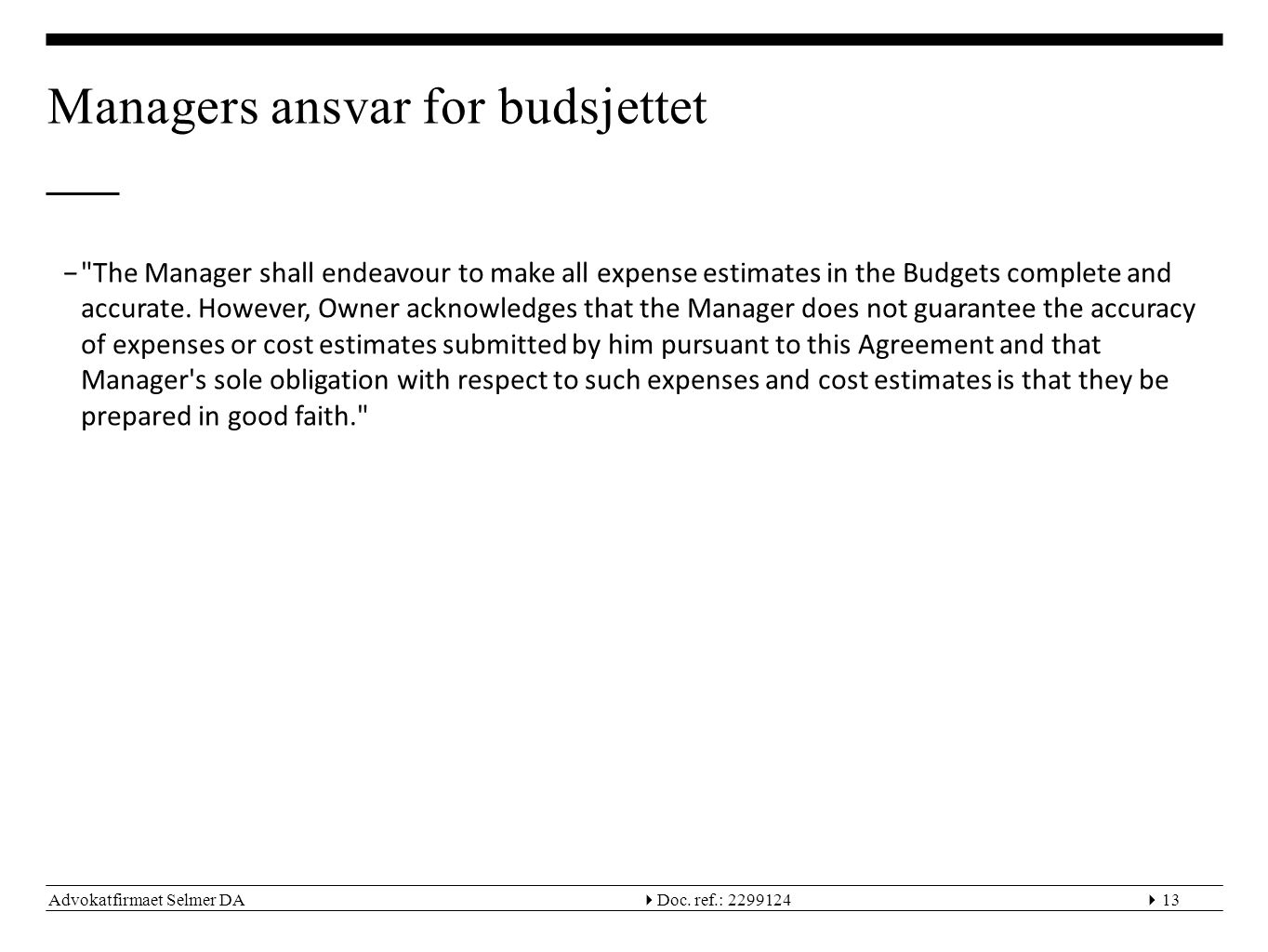 Managers ansvar for budsjettet