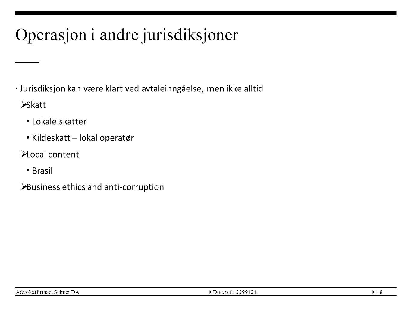 Operasjon i andre jurisdiksjoner