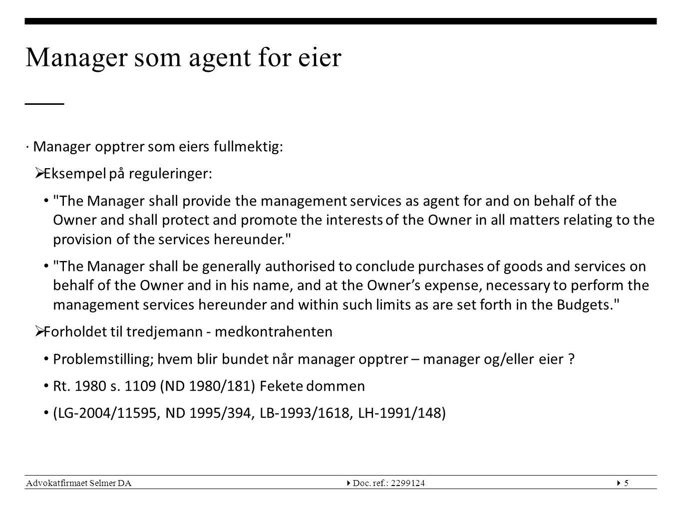 Manager som agent for eier