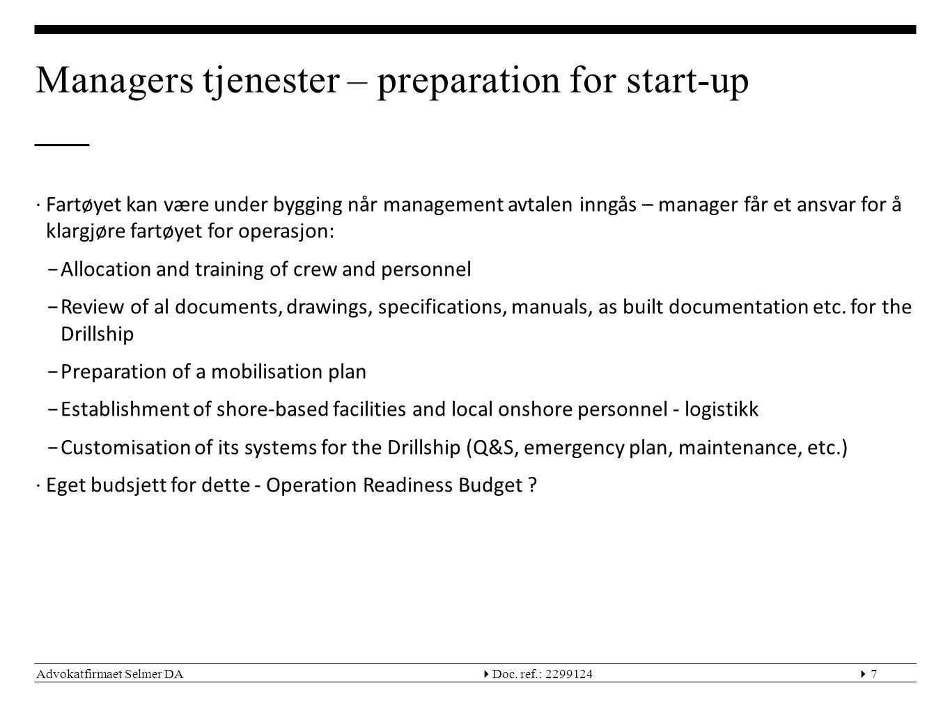 Managers tjenester – preparation for start-up